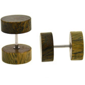 Organic Brown Wood Fake Plug Earrings (00g Look)