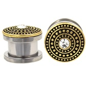 "Gold-Tone Dotted Shield Gem Plugs (4g-5/8"")"