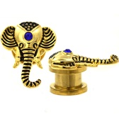 "Elegant Elephant Screw-Fit Gold Plugs (8g-5/8"")"