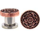 "Bronze-Tone Sacred Lotus Flower Plugs (4g-5/8"")"