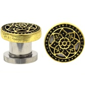 "Gold-Tone Sacred Lotus Flower Plugs (4g-5/8"")"