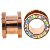 "Rose Gold IP Steel AB Gem Rim Screw Tunnels (10g-5/8"")"