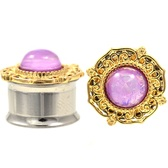 "Pink Resin Opal Royal Gold Edging Plugs (4g-5/8"")"