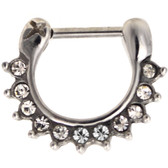 100% Steel Crystal Accented Septum Clicker