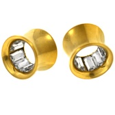 "Gold IP Rectangular Stone Interior Tunnels (0g-1"")"