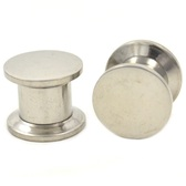 "Stainless Steel Flat Top Screw Ear Plugs (8g-1/2"")"