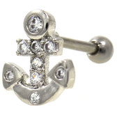Gem Paved Anchor Steel Cartilage Earring 16g 1/4""