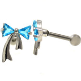 Two Gem Aqua Ribbon Steel Cartilage Bar 16G 1/4""
