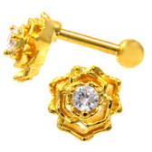 Blooming Flower Gold Tone Cartilage Bar 16G 1/4""