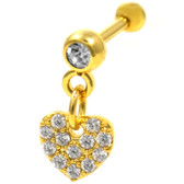 Dangling Clear Accent Heart Gold Tone Cartilage Bar