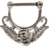 Rose Flower 100% Steel Septum Clicker