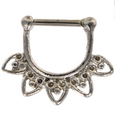 Five Heart Filigree 100% Steel Septum Clicker