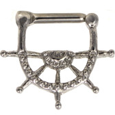 Nautical Ships Wheel 100% Steel Septum Clicker