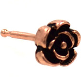 Vintage Style Rose Top Rose Gold-Tone Nose Ring Stud