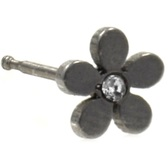 Plumeria Flower Steel Nose Ring Stud 20G