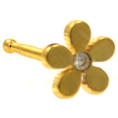 Plumeria Flower Gold-Tone Nose Ring Stud 20G
