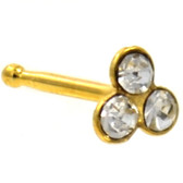 Clear Accent Trinity Gold-Tone Nose Ring Stud