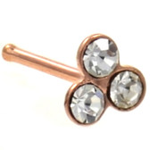 Clear Accent Trinity Rose Gold-Tone Nose Ring Stud