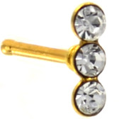 Triple Accent Line Gold-Tone Nose Ring Stud 20G