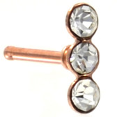 Triple Accent Line Rose Gold-Tone Nose Ring Stud