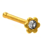 Clear Accent Flower Top Gold-Tone Nose Ring Stud