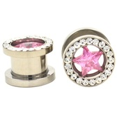 "Pink and Clear Gem Rim Star Steel Screw Tunnels (4g-1/2"")"