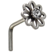 Clear Accent Daisy L Shaped Steel Nose Ring 20G