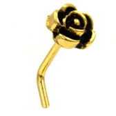 Vintage Rose Top L Shaped Gold-Tone Nose Ring 20G