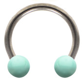 Mint Green Ceramic Ball Steel Horseshoe Ring 16G