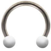 White Ceramic Ball Steel Horseshoe Ring 16G