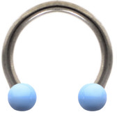 Light Blue Ceramic Ball Steel Horseshoe Ring 16G