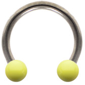 Lemon Yellow Ceramic Ball Steel Horseshoe Ring 16G