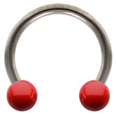 Red Ceramic Ball Steel Horseshoe Ring 16G