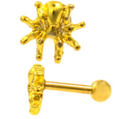 Spider Top Gold-Tone Steel Cartilage Bar - 16G 1/4""