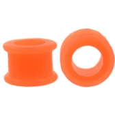 "Orange Double Flared Silicone Tunnels (6g-7/8"")"