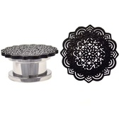 "Oversized Black Tribal Mandala Plugs (4g-5/8"")"