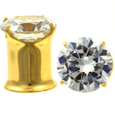 "Prong Set CZ Double Flared Gold-Tone Plugs (10g-1/2"")"