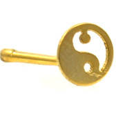 Yin & Yang Top Gold-Tone Steel Nose Ring Stud 20G