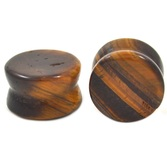 "Golden Tiger Eye Stone Double Flared Plugs (8g-1"")"