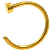 Gold-Tone Steel Flat Disc Nose Ring Hoop (22g-18g)
