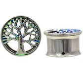 "Color Spotted Tree of Life 316L Steel Tunnels (2g-1"")"