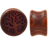 "Blood Wood Carved Tree Of Life Plugs (00g-1"")"