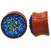 "Raw Blue Glitter Cluster Wood Plugs (00g-13/16"")"