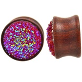 "Raw Pink Glitter Cluster Wood Plugs (00g-13/16"")"