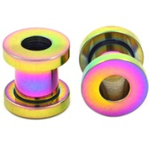 "Rainbow Titanium Plated Screw Fit Tunnels (12g-1/2"")"