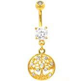 Clear CZ Decorated Tree Of Life Gold-Tone Belly Ring