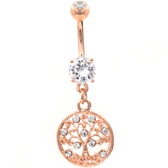 CZ Decorated Tree Of Life Rose Gold-Tone Belly Ring