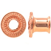 "Ridged Filigree Rose Gold Tone Steel Tunnels (2g-1"")"