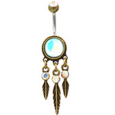 Iridescent Dreamcatcher Brass-Tone Belly Ring