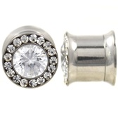Clear CZ Center & Rim Internally Threaded Plugs
